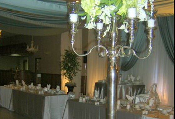 wedding decorations and place settings at the Portuguese Club Leamington